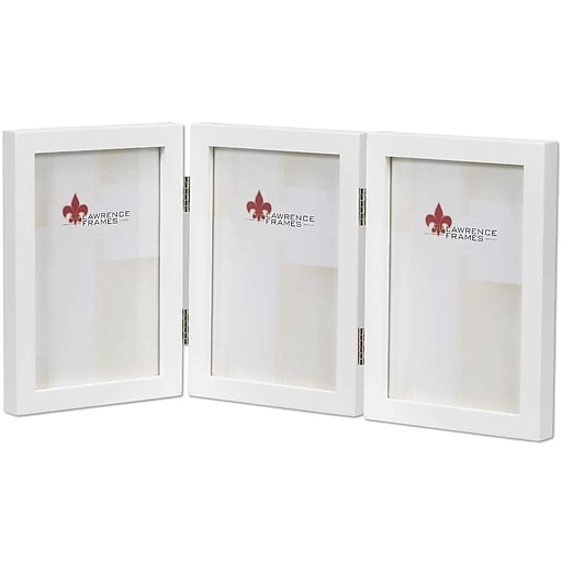 5x7 Hinged Triple White Wood Picture Frame Gallery Collection