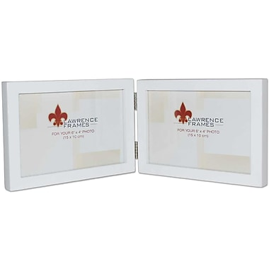 4x6 Hinged Double (Horizontal) White Wood Picture Frame - Gallery Collection