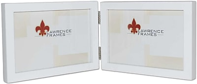 5x7 Hinged Double (Horizontal) White Wood Picture Frame - Gallery Collection