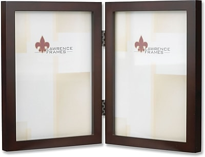 755957D Espresso Wood 5x7 Hinged Double Picture Frame - Gallery Collection