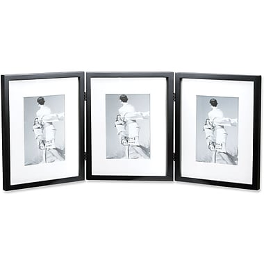 Black Wood 8x10 Hinged Triple Picture Frame - Comes with Bevel Cut Mats for 5x7 Photos
