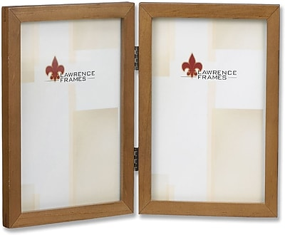 766046D Nutmeg Wood 4x6 Hinged Double Picture Frame - Gallery Collection