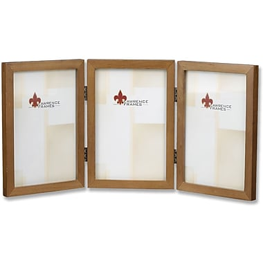 766046T Nutmeg Wood 4x6 Hinged Triple Picture Frame - Gallery Collection