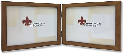 766075D Nutmeg Wood 7x5 Hinged Double Picture Frame - Gallery Collection