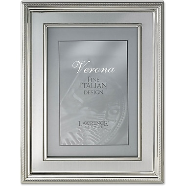 4x6 Silver Plated Metal Picture Frame - Brushed Silver Inner Panel