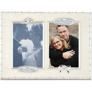 """Lawrence Frames 4"""" x 6"""" Metal Silver 25th Anniversary Double Opening Picture Frames (898024)"""