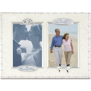 """Lawrence Frames 4"""" x 6"""" Metal Silver 50th Anniversary Double Opening Picture Frame (898124)"""