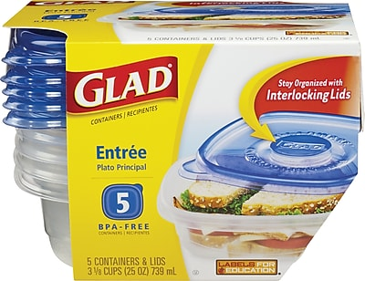 Glad Food Storage Containers, Entree, 25oz, 5 Count 134706