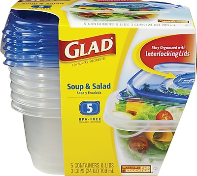 Glad® Plastic Soup and Salad Containers with Lids, Clear/Blue, 5/Pack, 24 oz.