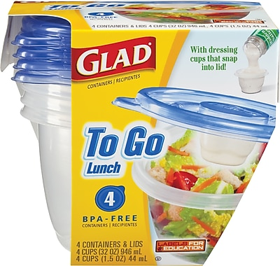 Glad To Go Lunch Containers, 32 oz., 4/Pack 134347