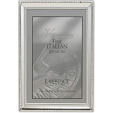 Polished Silver Plate 4x6 Picture Frame - Bead Border Design