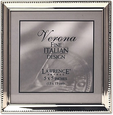 Polished Silver Plate 5x5 Picture Frame - Bead Border Design