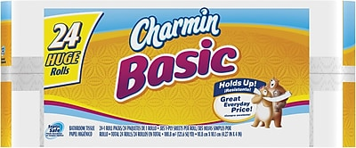 Charmin® Basic Bath Tissue Rolls, 1-Ply, 24 Huge Rolls/Case