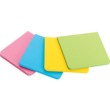 Post-it® Super Sticky Full Adhesive Notes, Bright Colours, 3'' x 3'', 4/Pack