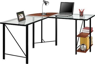Altra Furniture Aden Corner Glass Computer Desk Staples