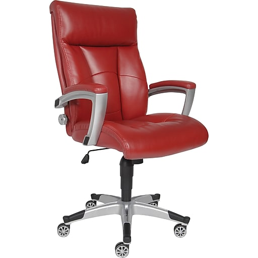 sealy roma leather executive office chair fixed arms red 9843g