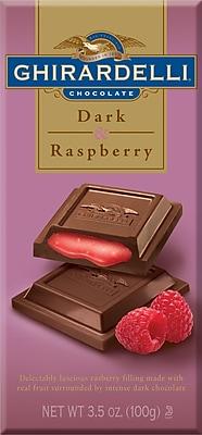 Ghirardelli Chocolate Bars, Dark & Raspberry, 3.5 oz., 12 Bars/Box
