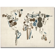 "Trademark Global Michael Tompsett ""Instrument World Map"" Canvas Art, 22"" x 32"""