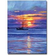 """Trademark Global David Lloyd Glover """"Salmon Trawler at Sunrise"""" Canvas Art, 18"""" x 24"""""""