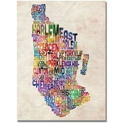 "Trademark Global Michael Tompsett ""Manhatan Typography Map"" Canvas Art, 30"" x 47"""