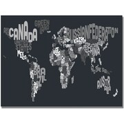 "Trademark Global Michael Tompsett ""Font World Map VII"" Canvas Arts"