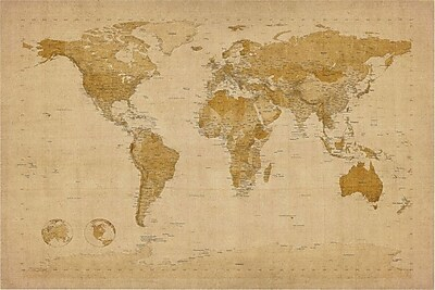 "Trademark Global Michael Tompsett ""Antique World Map"" Canvas Art, 30"" x 47"""