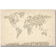 "Trademark Global Michael Tompsett ""Music Note World Map"" Canvas Art, 22"" x 32"""