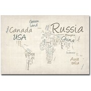 "Trademark Global Michael Tompsett ""Typography World Map"" Canvas Arts"