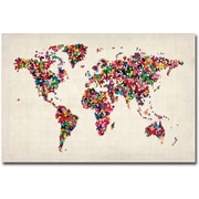 "Trademark Global Michael Tompsett ""Butterflies World Map"" Canvas Art, 16"" x 24"""