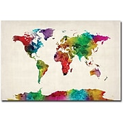 "Trademark Global Michael Tompsett ""Watercolor World Map II"" Canvas Art, 16"" x 24"""