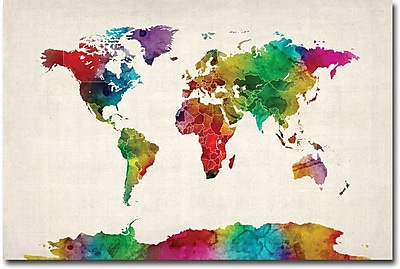 "Trademark Global Michael Tompsett ""Watercolor World Map II"" Canvas Art, 30"" x 47"""