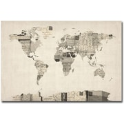 "Trademark Global Michael Tompsett ""Vintage Postcard World Map"" Canvas Art, 22"" x 32"""
