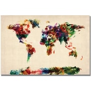 "Trademark Global Michael Tompsett ""Abstract Painting World Map"" Canvas Arts"