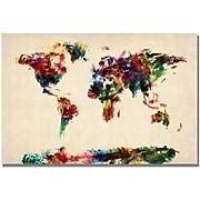 "Trademark Global Michael Tompsett ""Abstract Painting World Map"" Canvas Arts"
