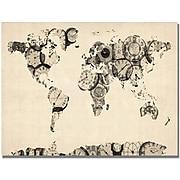 "Trademark Global Michael Tompsett ""Old Clocks World Map"" Canvas Art, 30"" x 47"""