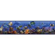"RoomMates® Under the Sea Peel and Stick Border, Black, Blue, Dark Gray, 180"" L x 5"" W"