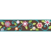 "RoomMates® Dena Floral Scroll Peel and Stick Border, Brown, 180"" L x 4 1/2"" H"