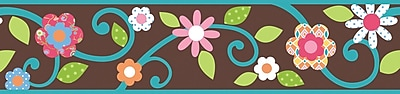 RoomMates® Dena Floral Scroll Peel and Stick Border, Brown, 180