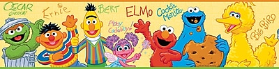 RoomMates® Sesame Street Peel and Stick Border, Yellow, Blue, Red, 180