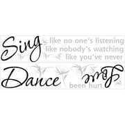 "RoomMates® Dance, Sing, Love Quote Peel and Stick Wall Decal, 10"" x 18"""