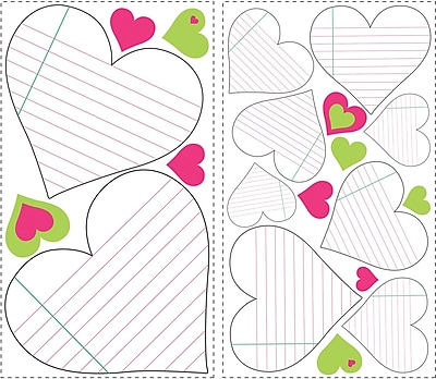 RoomMates® Heart Notepad Dry Erase Peel and Stick Wall Decal, 10