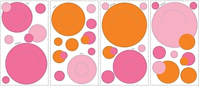 RoomMates® Pink and Orange Peel and Stick Wall Pocket Decal, 10