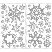 """RoomMates® Glitter Snowflakes Peel and Stick Wall Decal, 18"""" H x 10"""" W"""