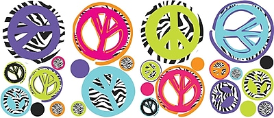 RoomMates® Zebra Print Peace Signs Peel and Stick Wall Decal, 10