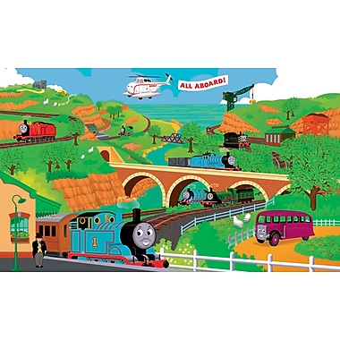 RoomMates® Thomas and Friends Chair Rail Prepasted Wall Mural, 9 ft H x 15 ft W