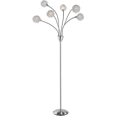 Adesso® 4511-22 Pom Pom Floor Lamp, 6 x 25 W, Satin Steel