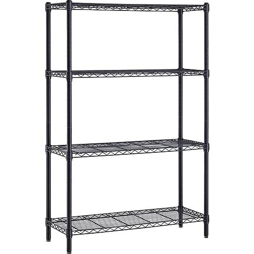 Black Wire Shelf | Whalen 72 Inch Wire Shelving Storage Unit Black Staples