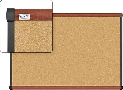 Staples Cork Bulletin Board, Cherry Finish Frame, 3' x 2'