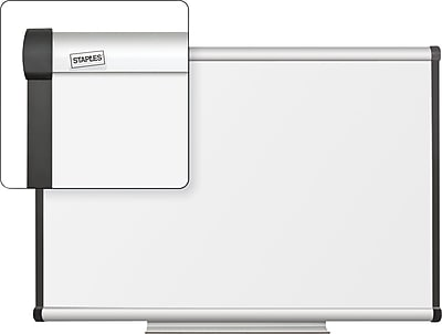 Staples Dry-Erase Whiteboard with Tray, Aluminum Frame, 3' x 2'