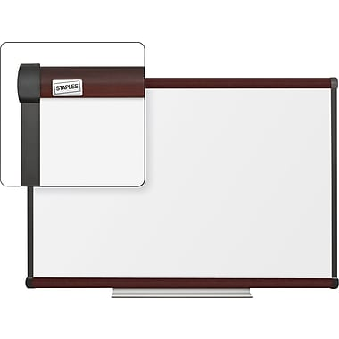Staples Dry-Erase Whiteboard with Tray, Mahogany Frame, 3' x 2'